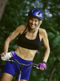 Smiling Blond Bicyclist Photographic Print