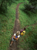 High Angle View of a Young Couple Hiking on a Forest Trail Photographic Print