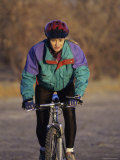 Portrait of a Young Woman Cycling Photographic Print