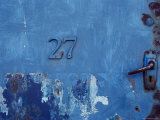 Close-up of a Blue Door with the Number Twenty Seven Photographic Print