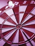 Close-up of a Dart in the Bull&#39;s-Eye of a Dartboard Photographic Print