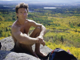 Male Hiker Sitting Photographic Print