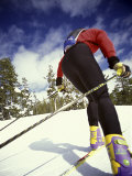 Rear View of Female Skier Photographic Print