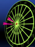 Neon Darts and Dartboard Photographic Print