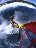 High Angle View of a Person Windsurfing in the Sea Photographic Print