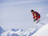 Male Skier Jumping Photographic Print