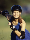 Active Woman Wearing Safety Gear Photographic Print
