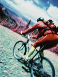 Infrared Image of a Mountain Biker Photographic Print