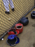 Batting Helmets in the Dugout Photographic Print
