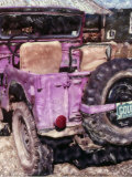 Rear View of a Jeep in Front of a House Photographic Print