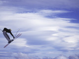 Low Angle View of a Skier in Mid Air Photographic Print