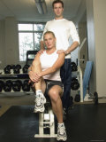 Man and Woman in Exercise Facility Photographic Print