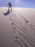 Low Angle View of a Person Trekking in a Desert Photographic Print