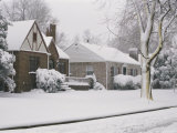 Houses in a Snow Covered Landscape Photographic Print