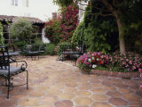 Flowered Patio with Chairs Photographic Print