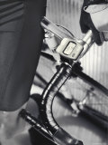 Close-up Image of a Man Leaning on a Bicycle Photographic Print