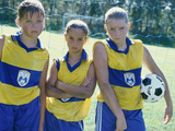 Portrait of Three Girls on a Soccer Team Photographic Print