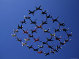 Skydivers in Diamond Formation Photographic Print
