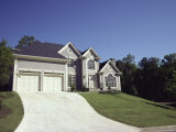 Traditional Home with Steep Driveway Photographic Print