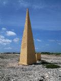 Navigational Obelisk Salt Flats Bonaire, Netherlands Antilles Photographic Print
