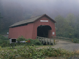 Covered Bridge on a Foggy Day Photographic Print