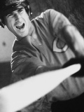Baseball Player Swinging a Bat Photographic Print