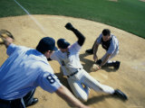 Baseball Player Sliding into Home Base Photographic Print