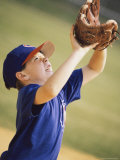 Boy Trying To Catch a Ball with a Baseball Glove Photographic Print
