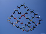 Skydivers in a Diamond Formation Photographic Print