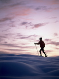 Cross Country Skiing at Twilight Photographic Print