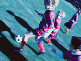 Children Playing Soccer Photographic Print