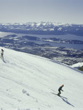 Skiers Going Downhill Photographic Print