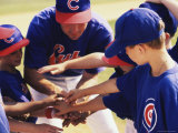 Little League Baseball Team in a Huddle Photographic Print