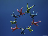 Skydivers Forming Circle Photographic Print