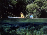 Two Men Fishing in a Boat Photographic Print