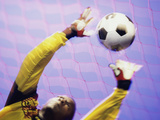 Low Angle View of a Goalie Catching a Ball Photographie