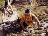 Young Man Falling From a Bicycle in a Race Photographic Print