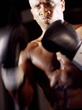 Close-up of a Male Boxer Wearing Boxing Gloves Photographic Print