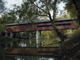 Covered Bridge Over a River Photographic Print