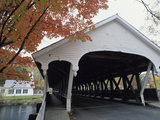 White Covered Bridge in Autumn Photographic Print