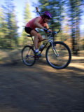 Fast Moving Mountain Biker Photographic Print