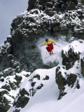 Skiing Over Large Boulders Photographic Print