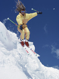 Skier in Yellow with Streaming Hair Photographic Print