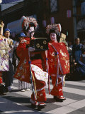 Geisha Parade, Geishas Dressed in Traditional Costume, Kimono, Kyoto, Honshu, Japan Photographic Print