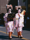 Geisha Parade, Geishas Dressed in Traditional Costume, Kimono, Kyoto, Honshu, Japan Photographic Print
