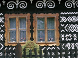 Traditional House Painting Cicmany, Mountain Regions, Slovakia Photographic Print
