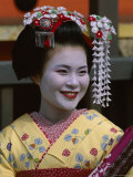 Apprentice Geisha (Maiko), Woman Dressed in Traditional Costume, Kimono, Kyoto, Honshu, Japan Photographic Print