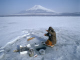 Frozen Lake with Fishermen, Lake Yamanaka, Mount Fuji, Honshu, Japan Photographic Print