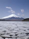 Frozen Lake, Lake Yamanaka, Mount Fuji, Honshu, Japan Photographic Print