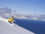Skier with Beautiful Scenery Beyond Photographic Print
